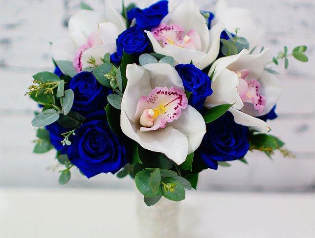 Buchetul Miresei Cu Trandafiri Albaștri și Orhidee Albă